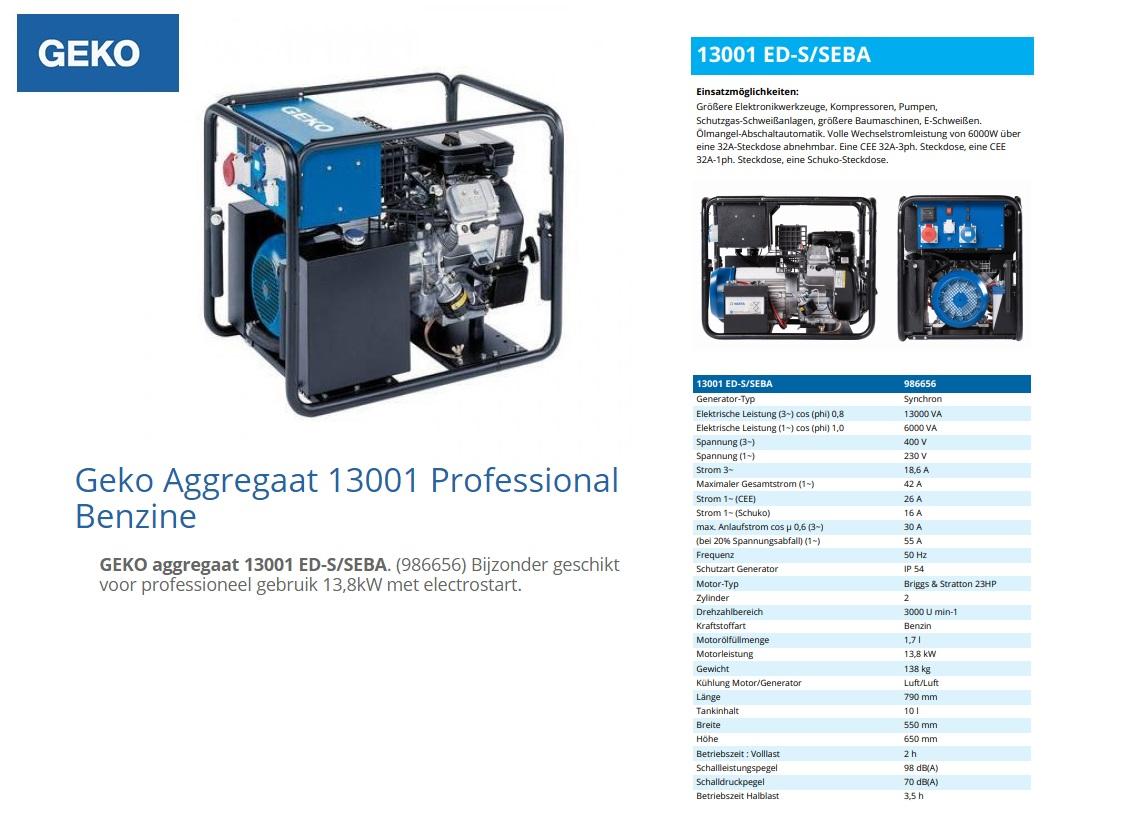 Geko Aggregaat 13001 ED-S/SEBA Benzine E-Start 13 kVA
