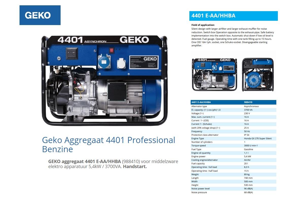 GEKO aggregaat 4401 E-AA/HHBA Benzine 5,4kW / 3700VA