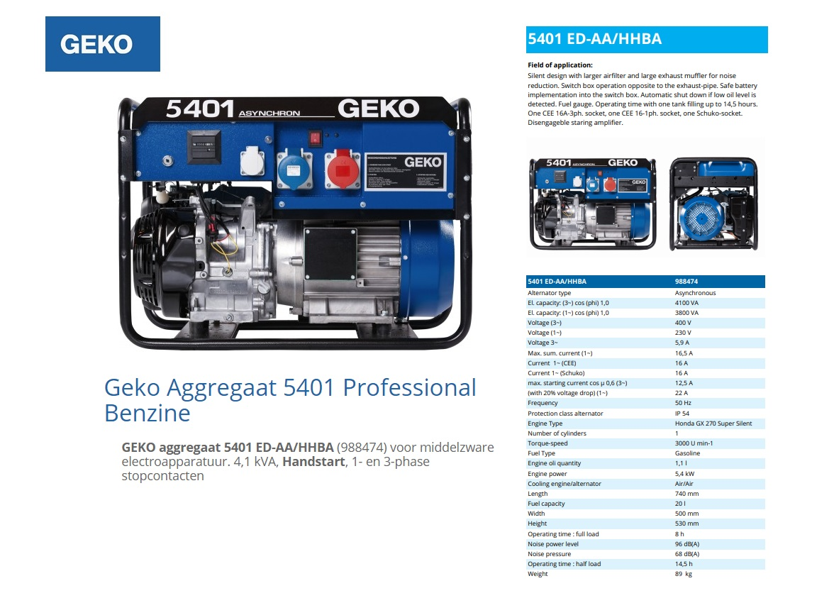 GEKO aggregaat 5401 ED-AA/HHBA Benzine 4,1 kVA