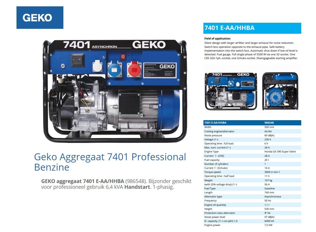 GEKO aggregaat 7401 E-AA/HHBA Benzine 6,4 kVA
