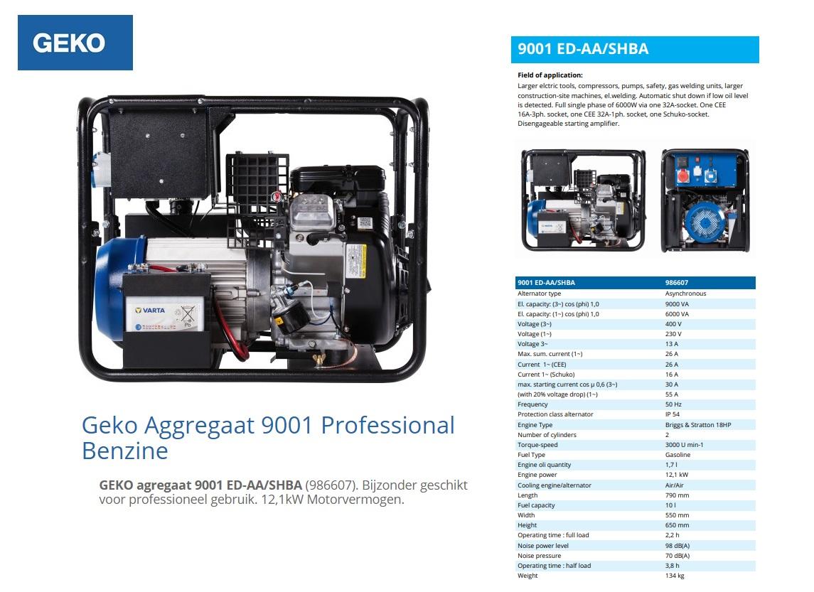 GEKO aggregaat 9001 ED-AA/SHBA Benzine 9 kVA