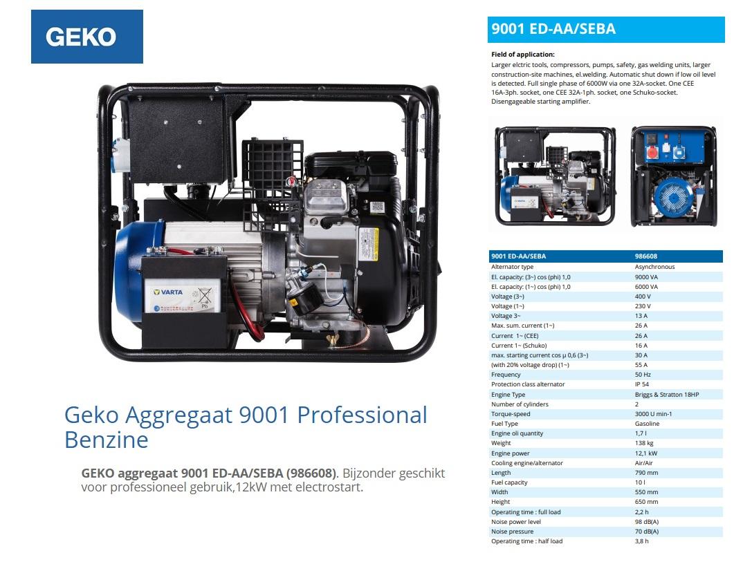 GEKO aggregaat 9001 ED-AA/SEBA Benzine E-Start 9 kVA