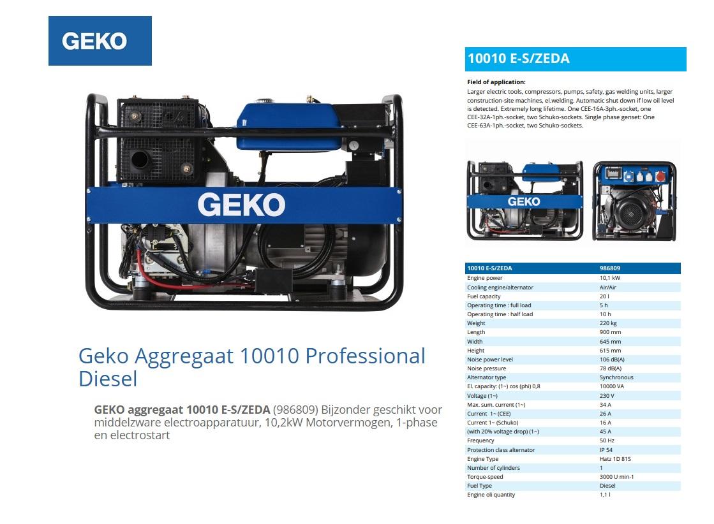 GEKO aggregaat 10010 E-S/ZEDA Diesel E-Start 9,8 kVA