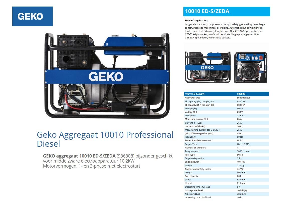 GEKO aggregaat 10010 ED-S/ZEDA Diesel E-Start 9,8 kVA