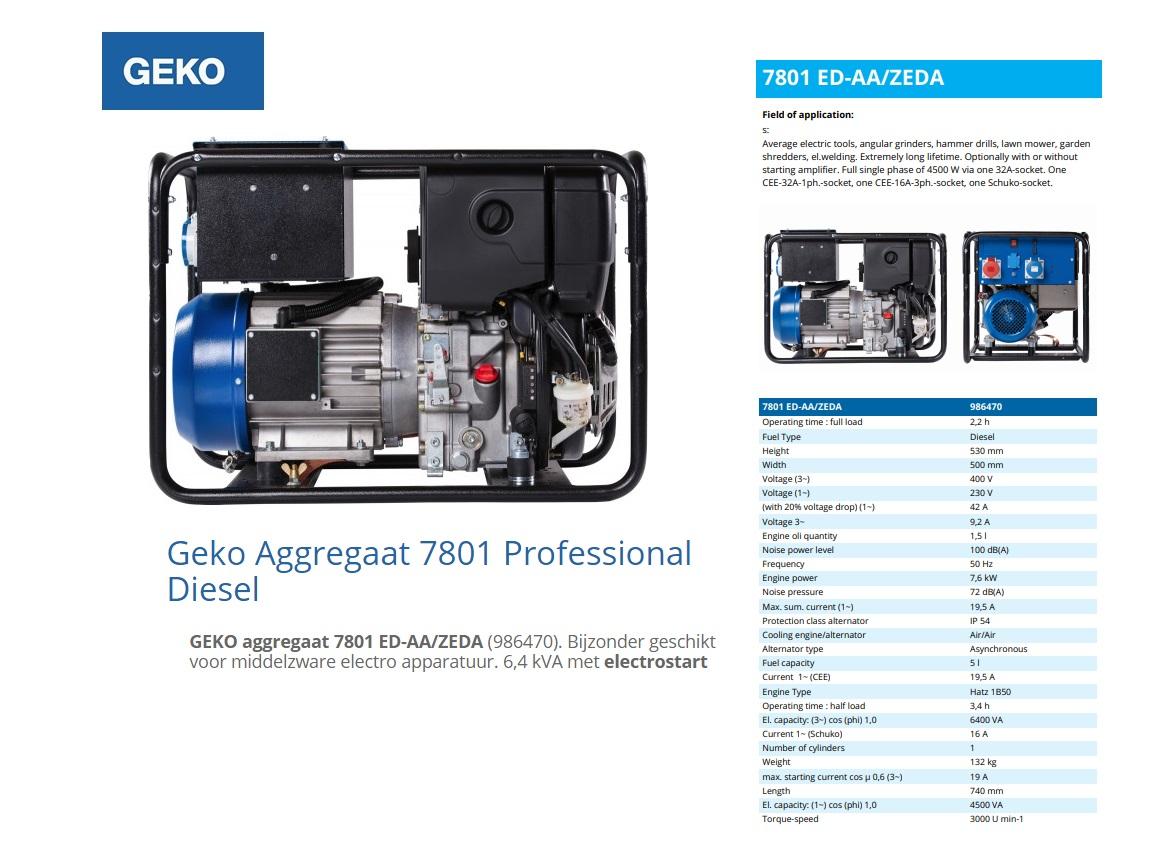 GEKO aggregaat 7801 ED-AA/ZEDA Diesel E-Start 6,4 kVA