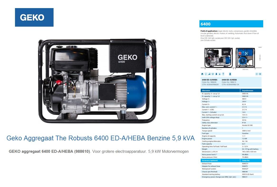 Geko Aggregaat The Robusts 6400 ED-A/HEBA Geko 988610