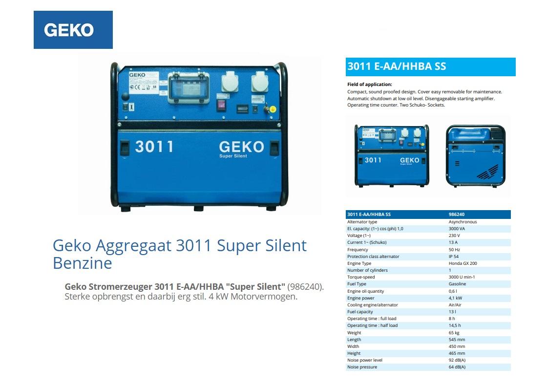 Geko Inverter aggregaat 3011 E-AA/HHBA SS Benzine 3 kVA