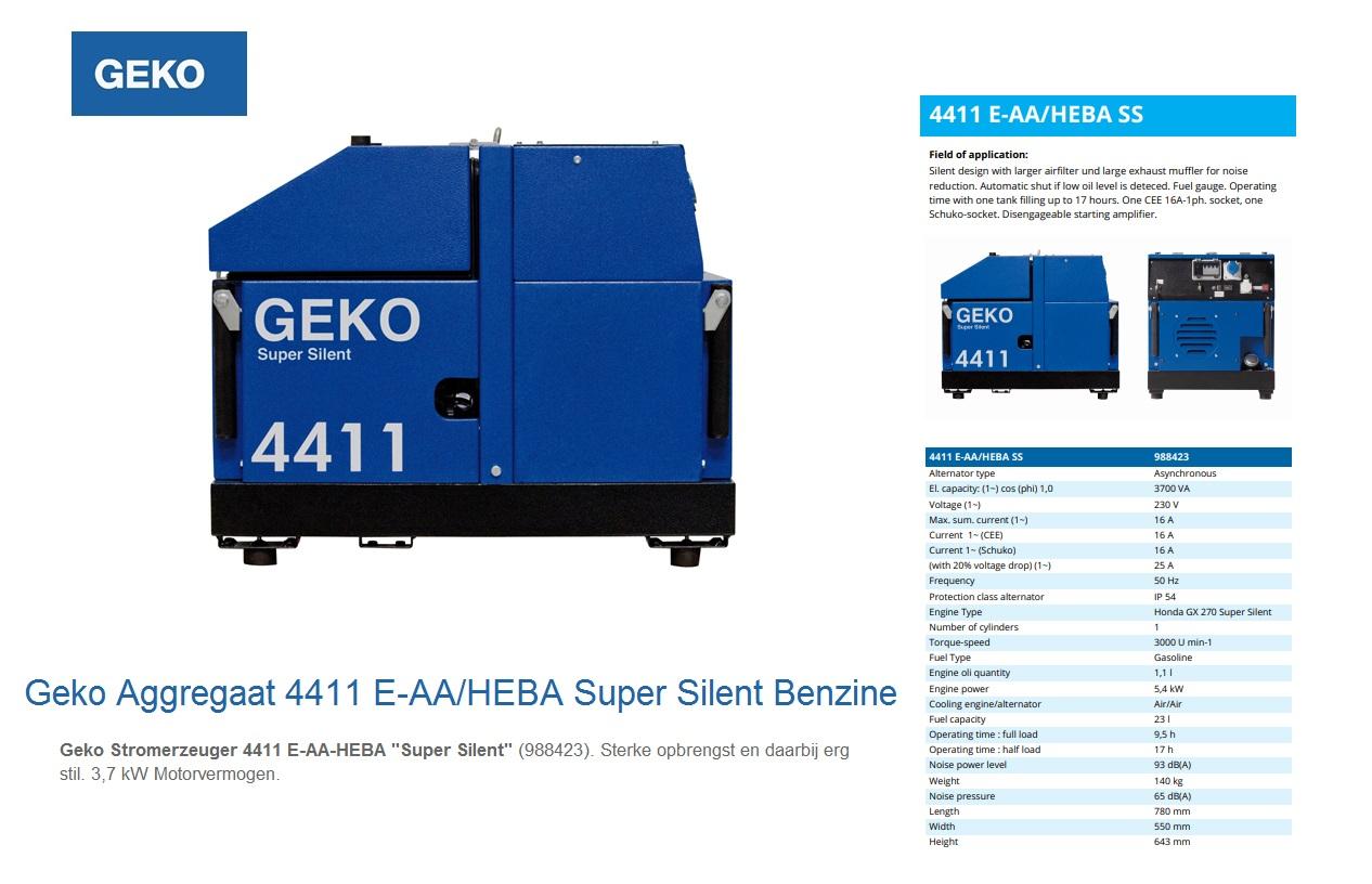 Super silent Benzine Aggregaat 4411 E-AA/HEBA SS Geko 988423