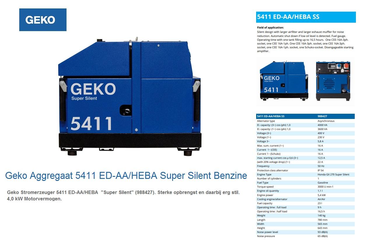 Super silent Benzine Aggregaat 5411 ED-AA/HEBA SS Geko 988427