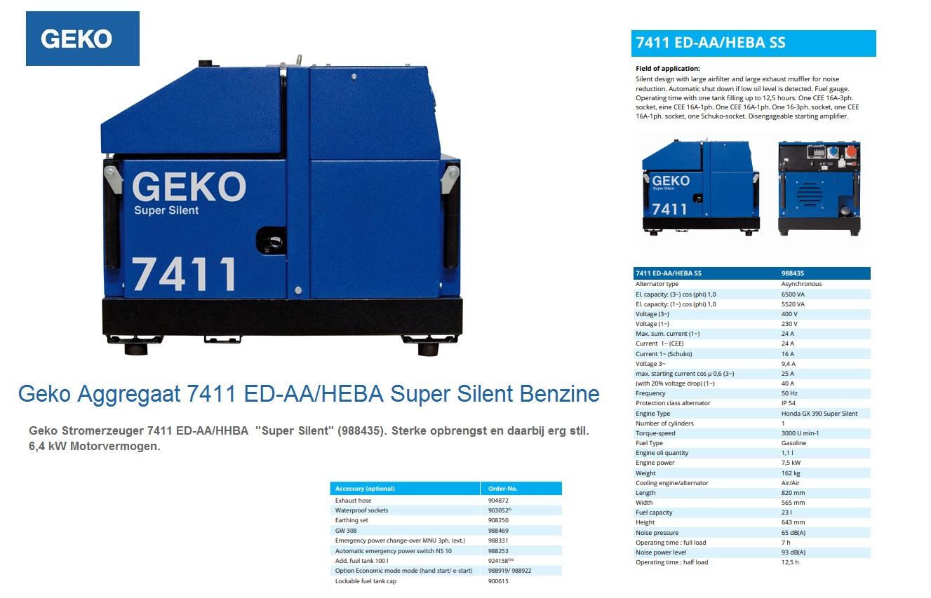 Super silent Benzine Aggregaat 7411 ED-AA/HEBA SS Geko 988435