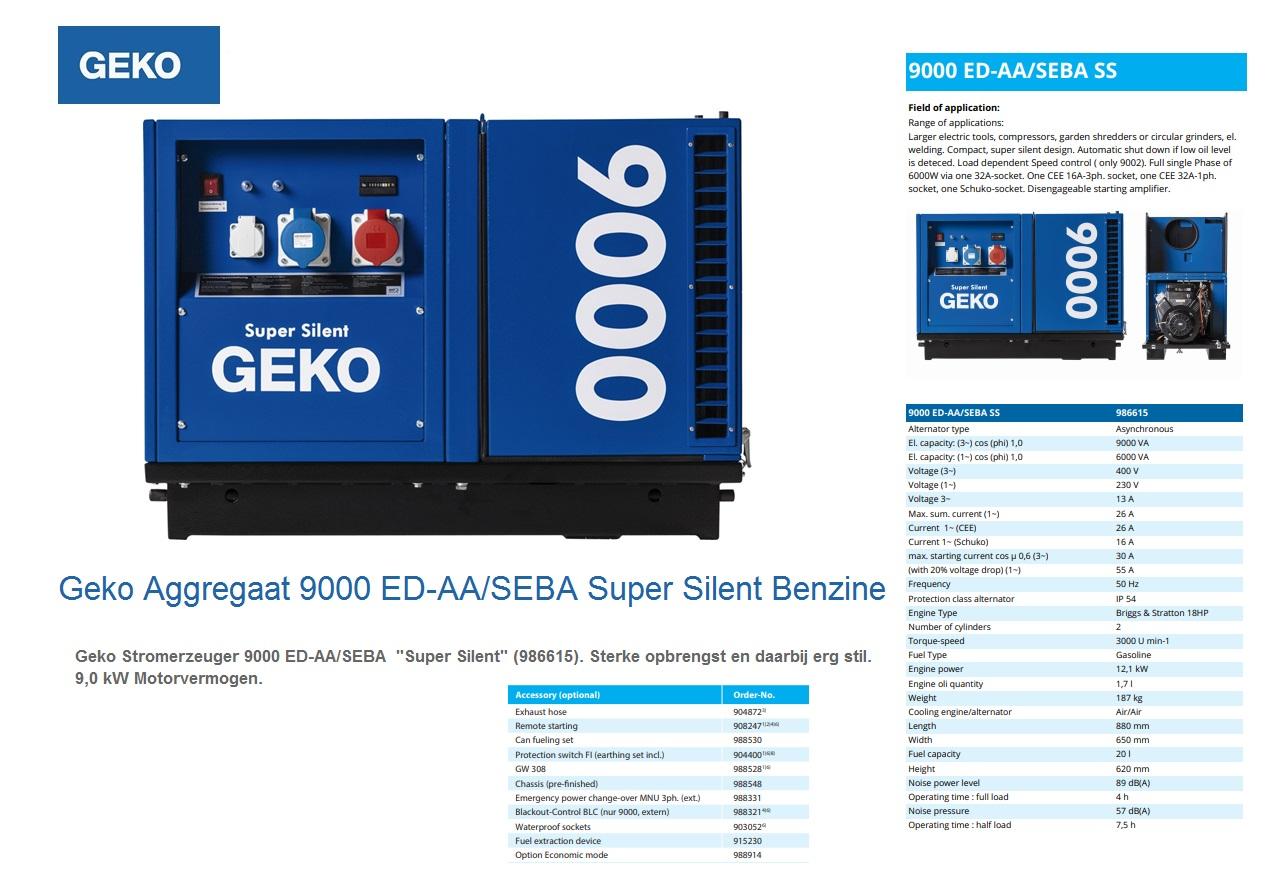 Super silent Benzine Aggregaat 9000 ED-AA/SEBA SS Geko 986615