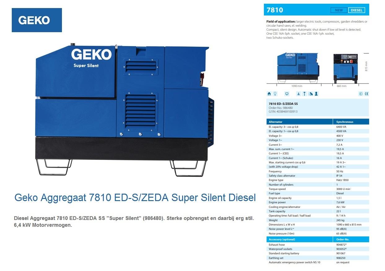Super silent Diesel Aggregaat 7810 ED-S/ZEDA SS Geko 986480