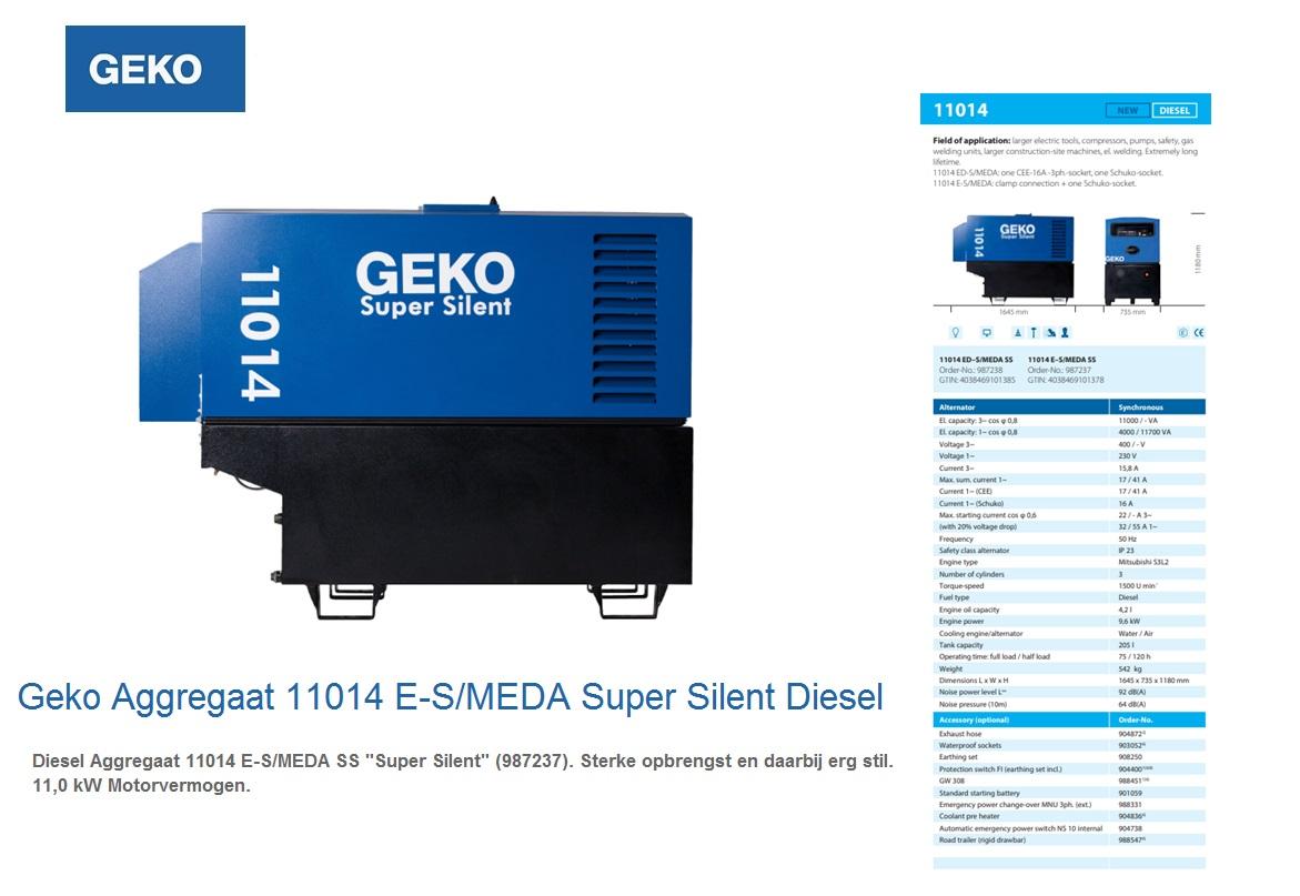 Super silent Diesel Aggregaat 11014 E-S/MEDA SS Geko 987237