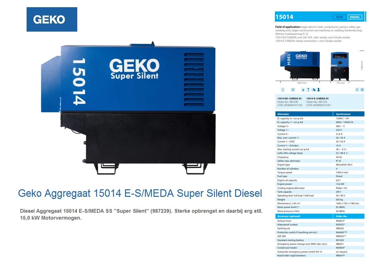 Super silent Diesel Aggregaat 15014 E-S/MEDA SS Geko 987239