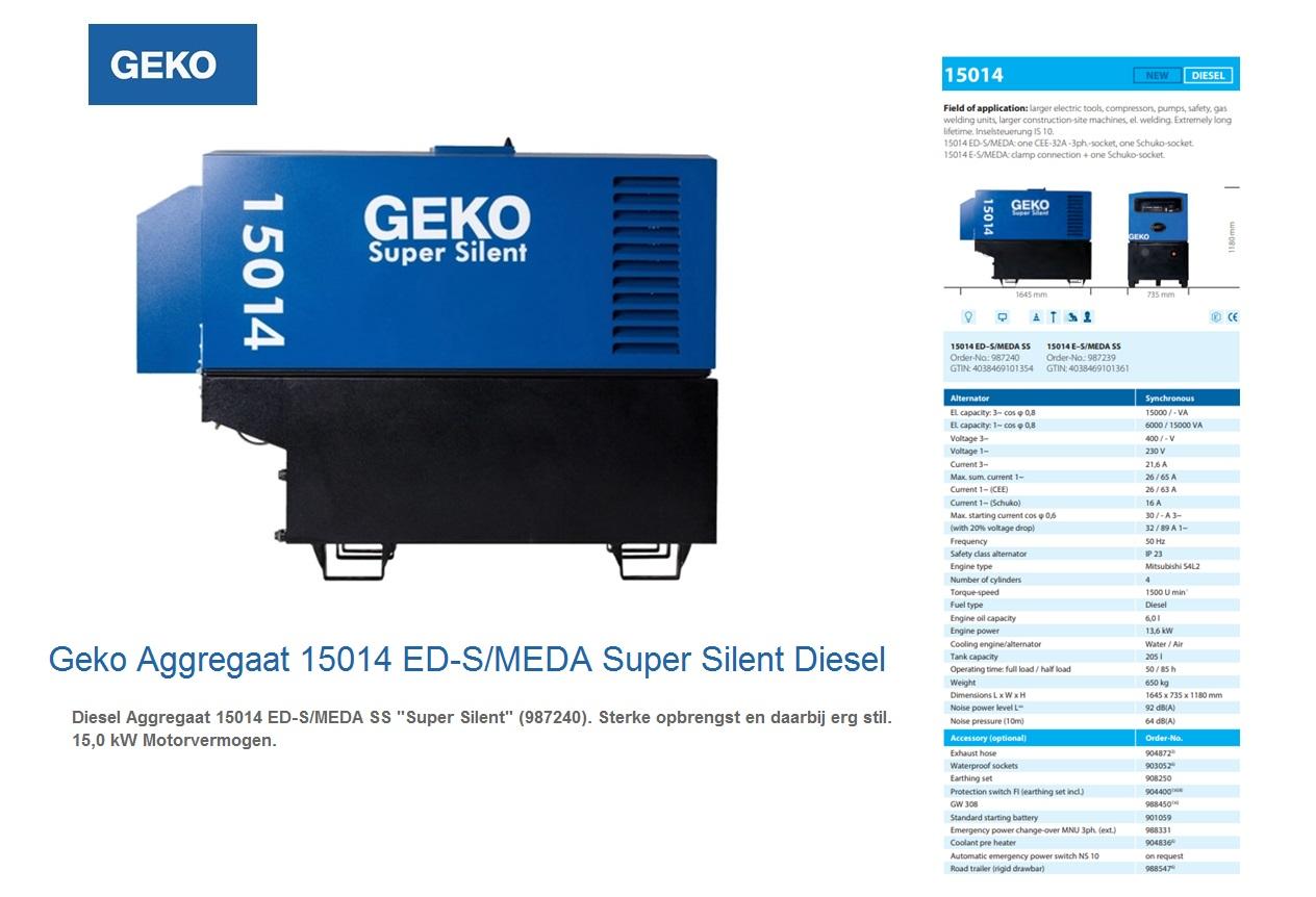 Super silent Diesel Aggregaat 15014 ED-S/MEDA SS Geko 987240