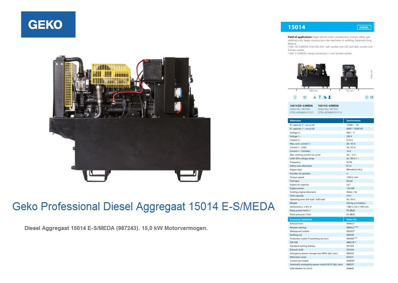 Professional Diesel Aggregaat 15014 E-S/MEDA Geko 987243