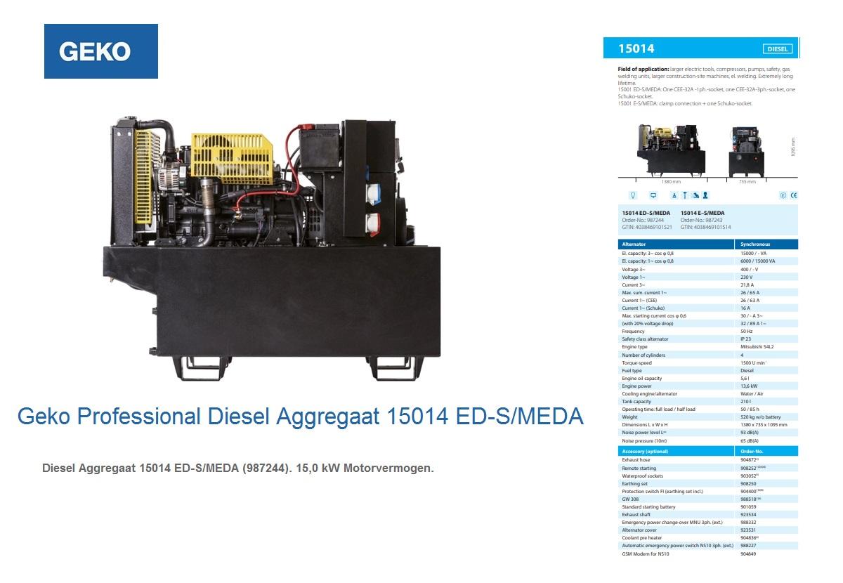 Professional Diesel Aggregaat 15014 ED-S/MEDA Geko 987244