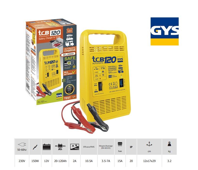 Acculader TCB 120 12V / 30-120Ah laadstroom 3,5-7A max.150W/230V
