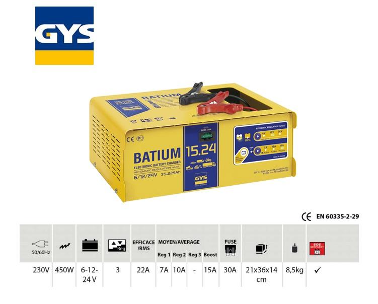 Acculader BATIUM 15-24 6/12/24V / 35-225AH laadstroom 22/7-10-15 max.450W/230V