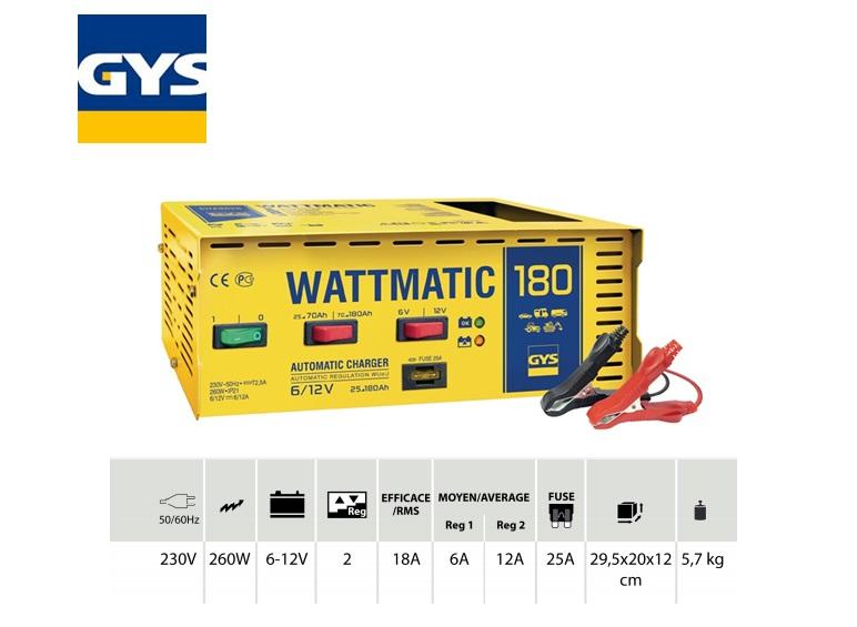 Acculader Wattmatic 180 6 - 12V 1: 6A / 2: 12A 25 - 180 Ah 230V, 260W
