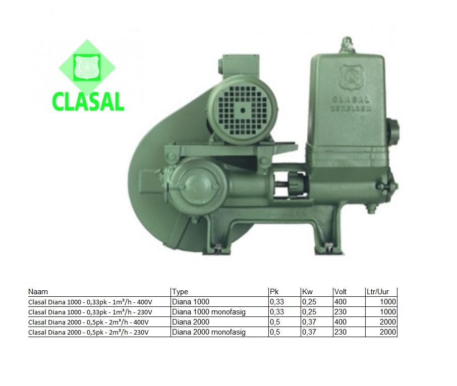 Clasal Diana 1000 Losse zuigerpomp met motor 0,33pk - 1m³/h 400V