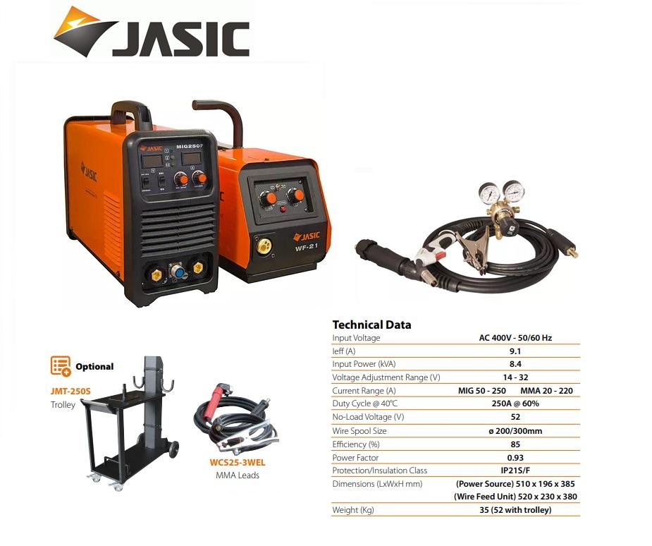 Jasic lasinverter MIG 250S Multi Process Separate 400V