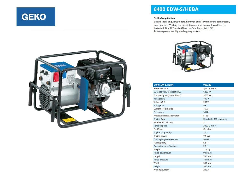 Welding Benzine Aggregaat 6400 EDW-S/HEBA Geko 986226