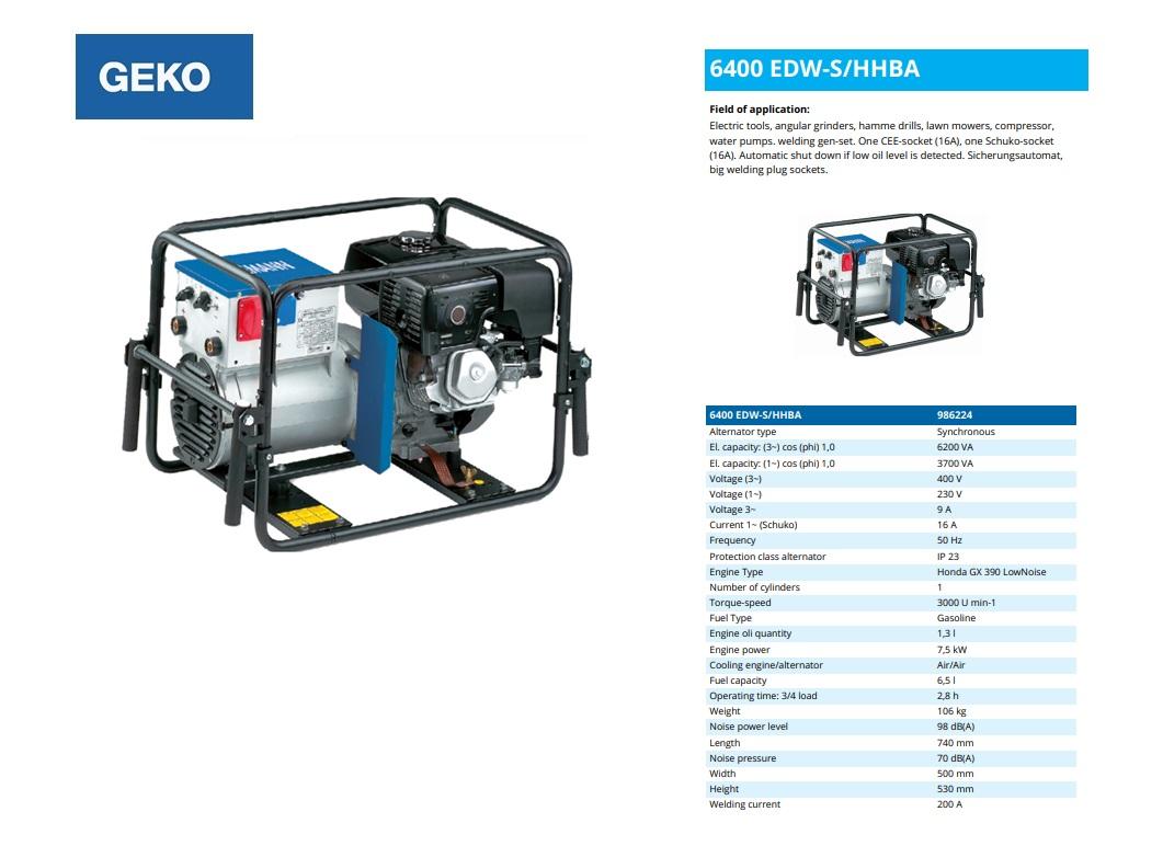 Welding Benzine Aggregaat 6400 EDW-S/HHBA Geko 986224