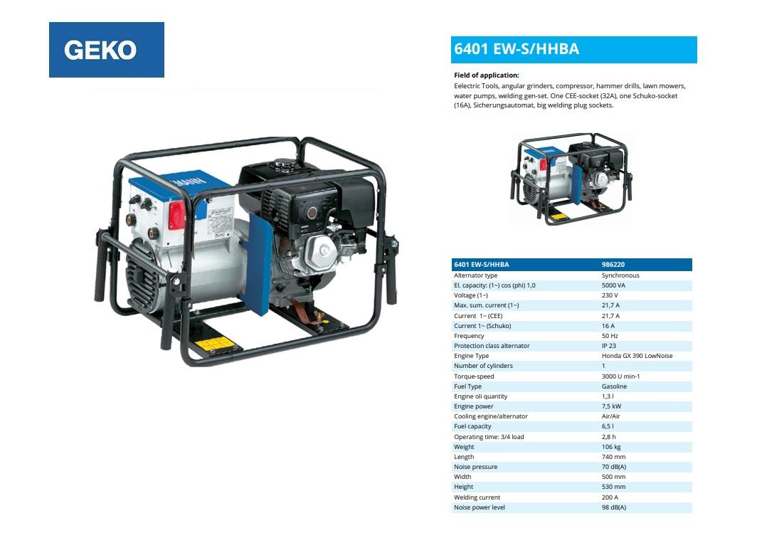 Welding Benzine Aggregaat 6401 EW-S/HHBA Geko 986220