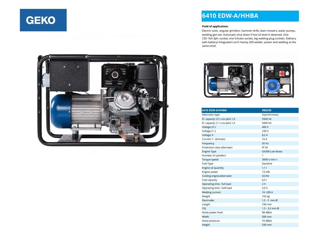 Welding Benzine Aggregaat 6410 EDW-A/HHBA Geko 986230