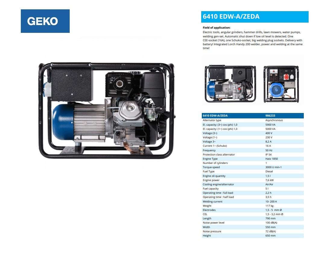 Welding Diesel Aggregaat 6410 EDW-A/ZEDA Geko 986233