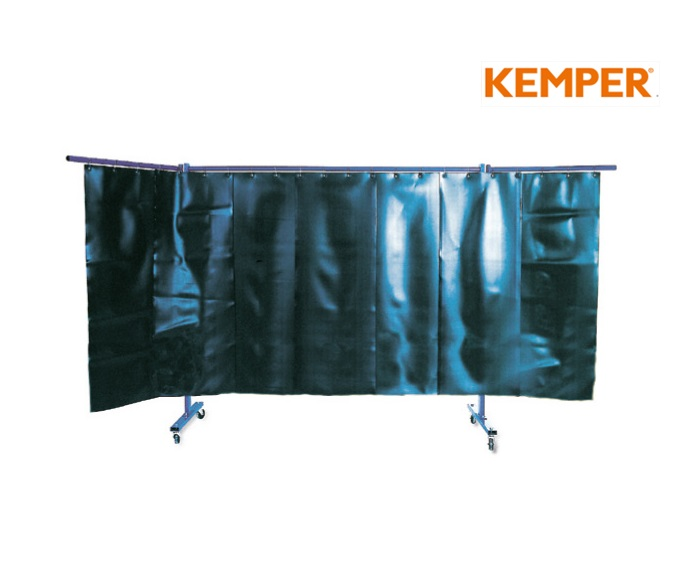 3-delige laswand met lamelgordijnen rood Kemper