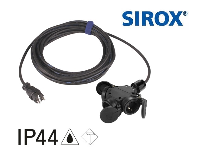 Verlengkabel 3-wegkoppeling 3 mtr H07RN-F 3G 1,5 mm²