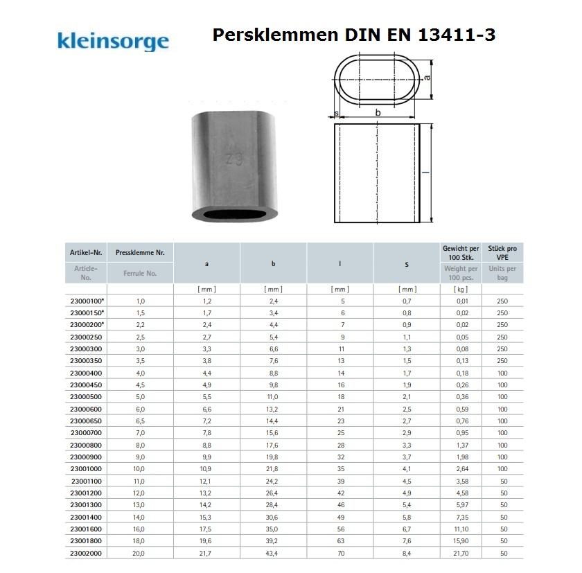 Persklem Form A NG 1 Aluminium DIN EN 13411-3