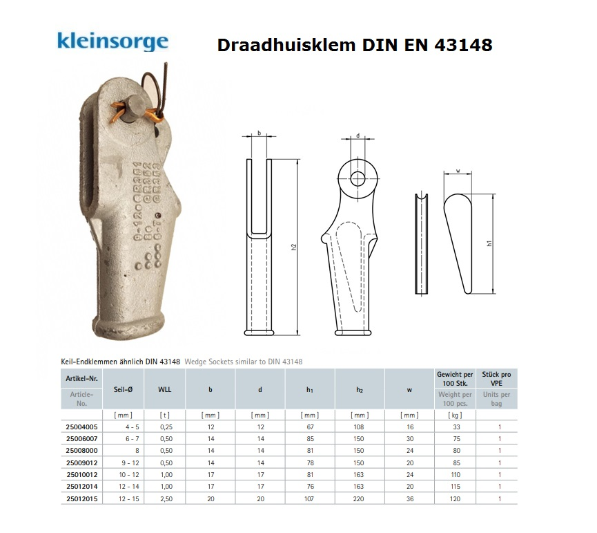 Draadhuisklem DIN 43148 4-5 mm thermisch verzinkt 0,25 t