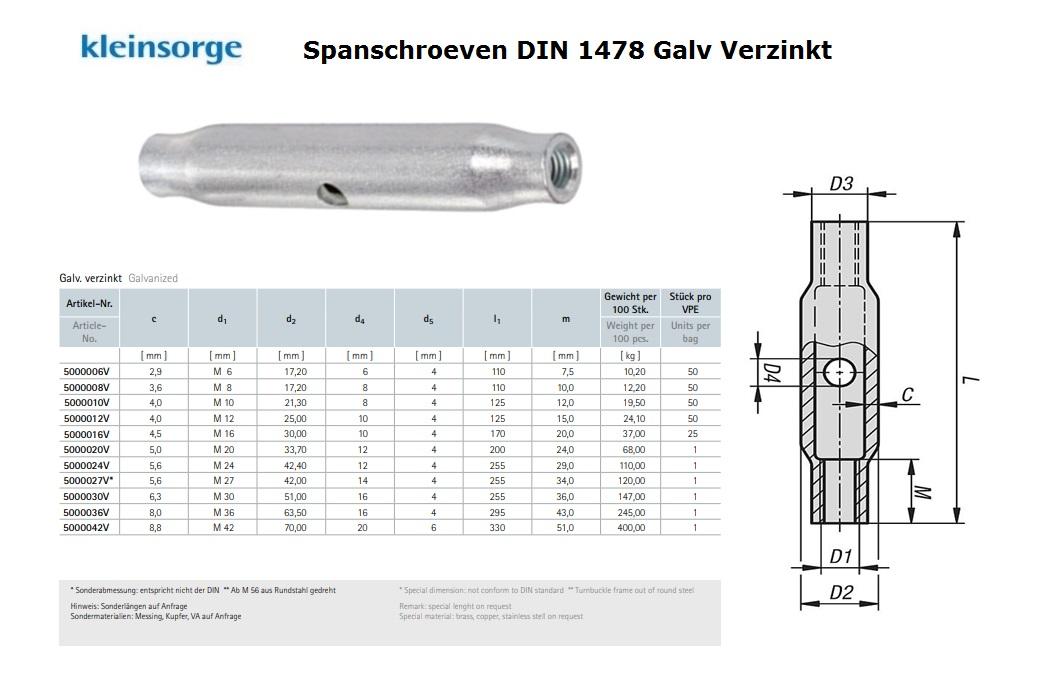 Spanschroef DIN 1478 M 6 S235JR Verzinkt St37