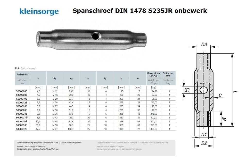 Spanschroef DIN 1478 M 6 S235JR onbewerk St37