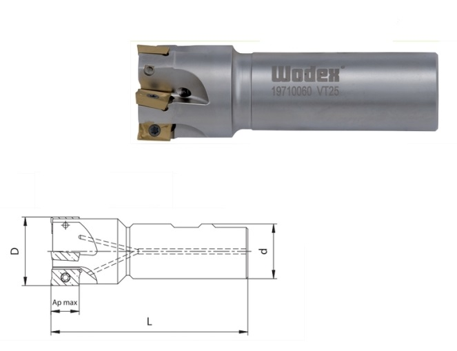 Hoek groeffrees APKT 10 Met interne koeling | DKMTools - DKM Tools