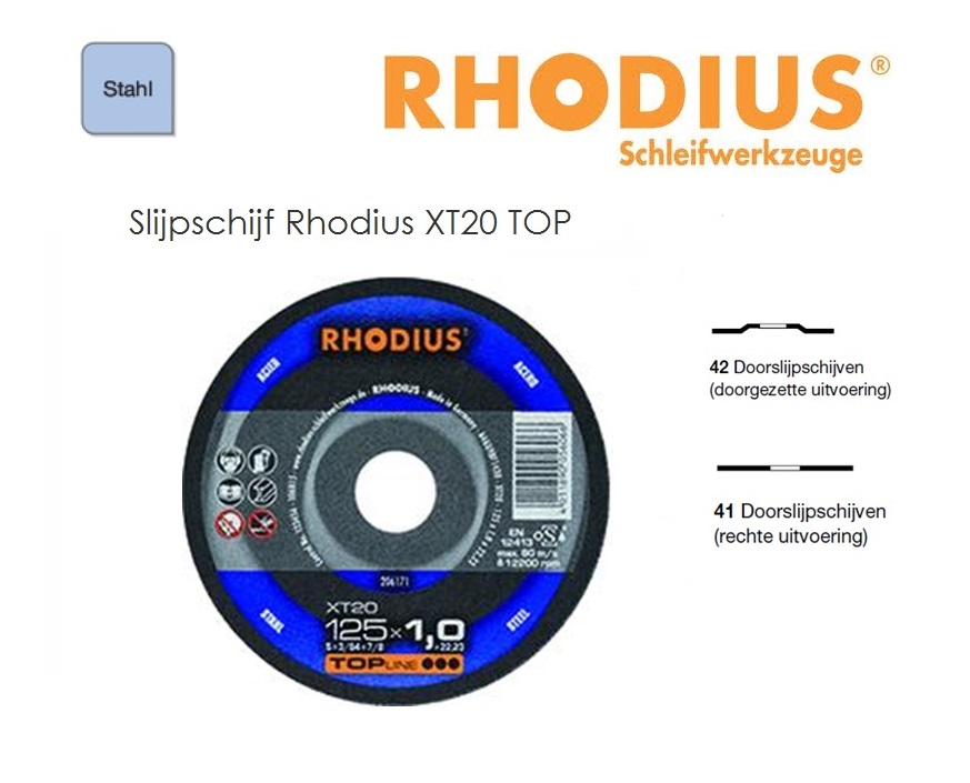 Doorslijpschijven Rhodius XT 20 TOP | DKMTools - DKM Tools
