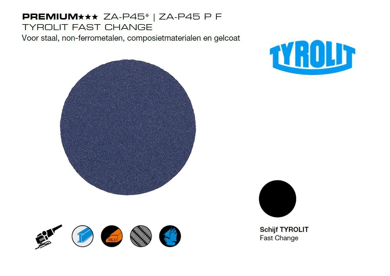 Tyrolit Fast Change. ZA P45 ZA P45 P F | DKMTools - DKM Tools