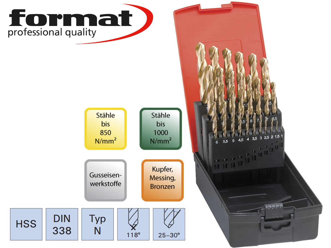 Spiraalboren set DIN 338 N TiN HSS geslepen Format | DKMTools - DKM Tools