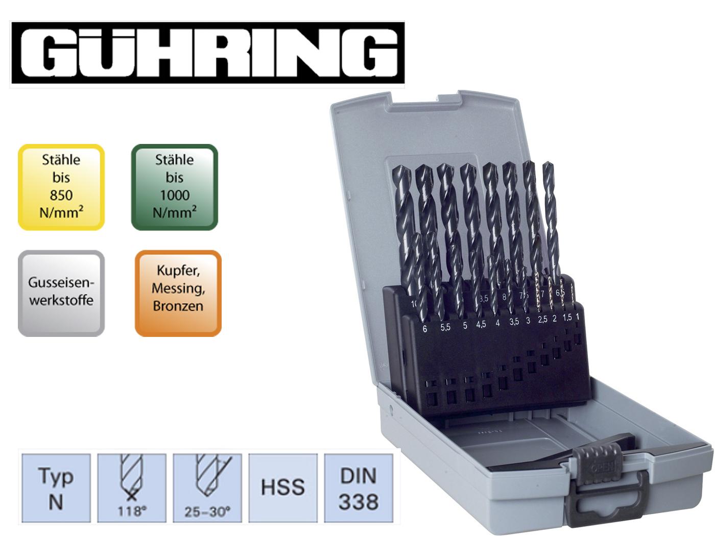 Spiraalboren set DIN 338 N HSS geslepen Guhring | DKMTools - DKM Tools