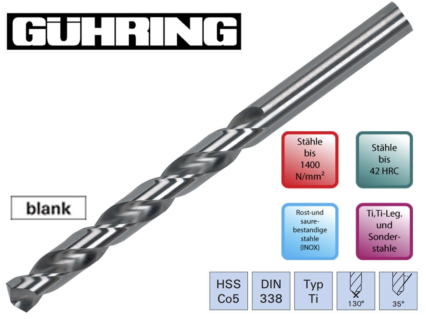 Spiraalboor DIN 338 TI HSSECo5 Guhring | DKMTools - DKM Tools