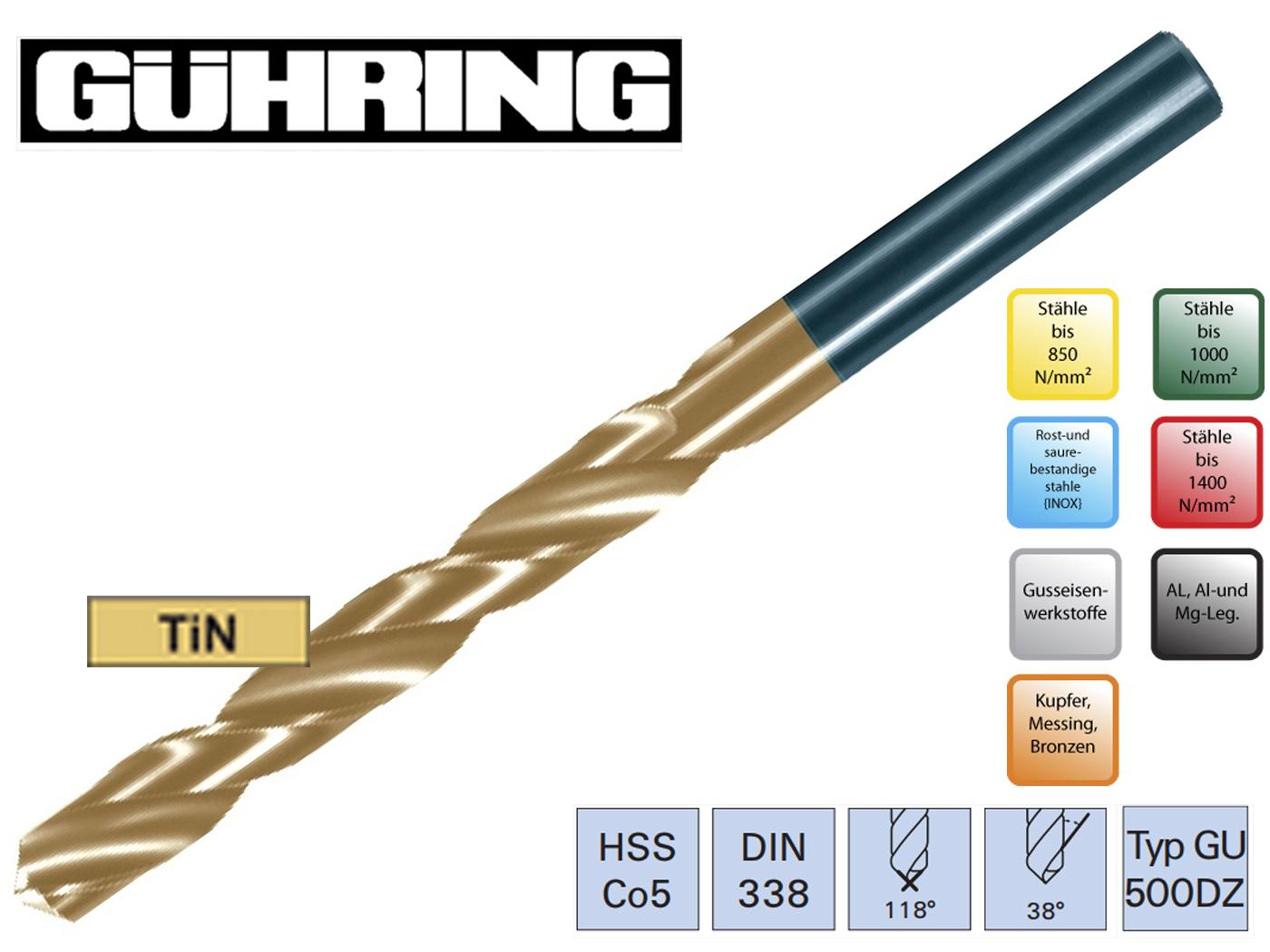 Spiraalboor DIN 338 GU 500DZ HSSECo5 Guhring | DKMTools - DKM Tools