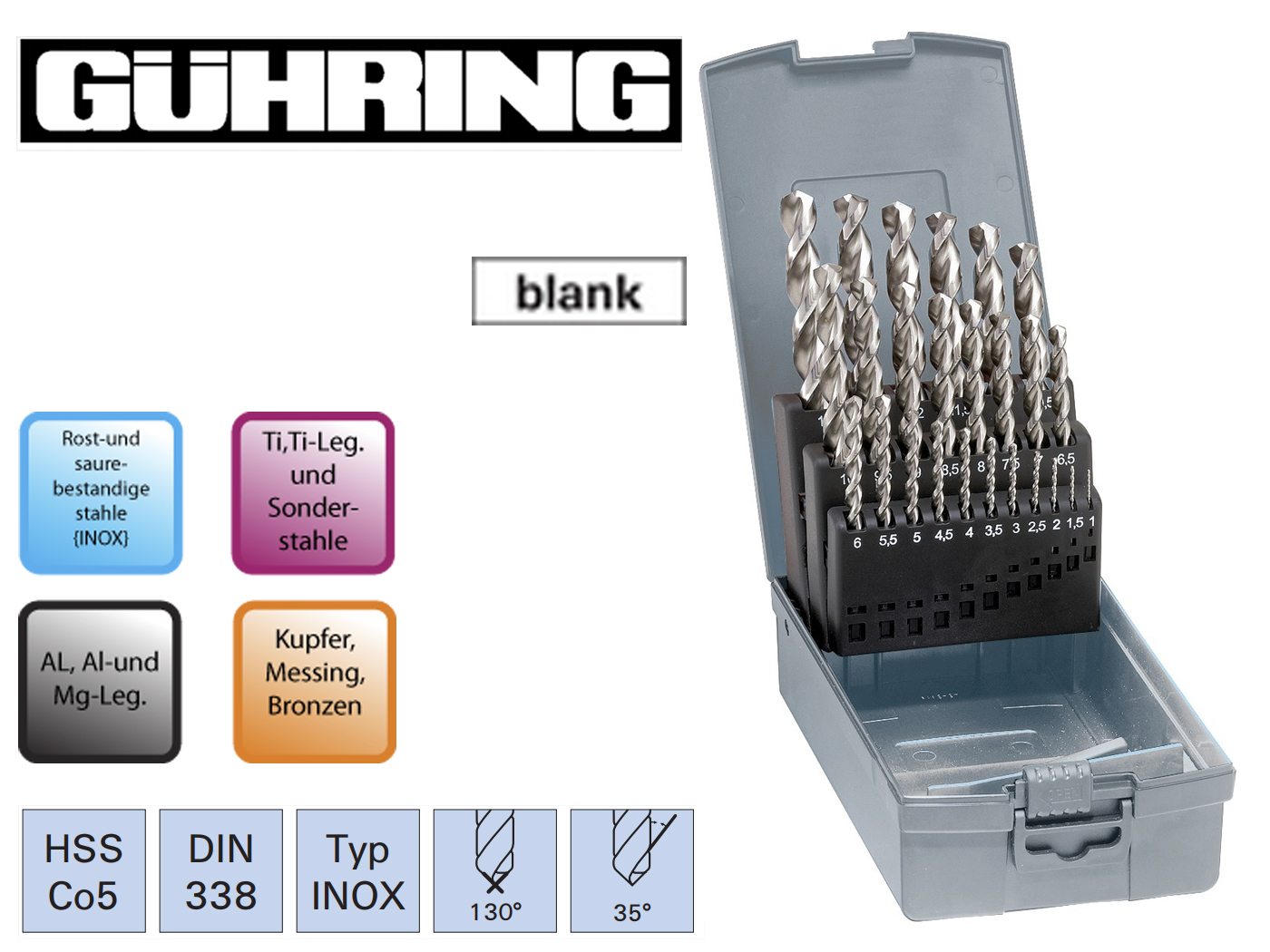 Spiraalboren set DIN 338 VA HSSECo5 Guhring | DKMTools - DKM Tools