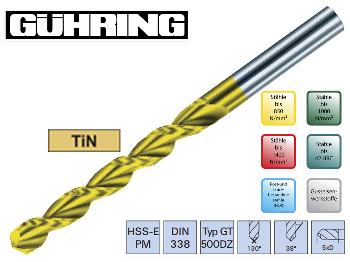 Spiraalboor DIN 338 GT HSS E PM Guhring | DKMTools - DKM Tools