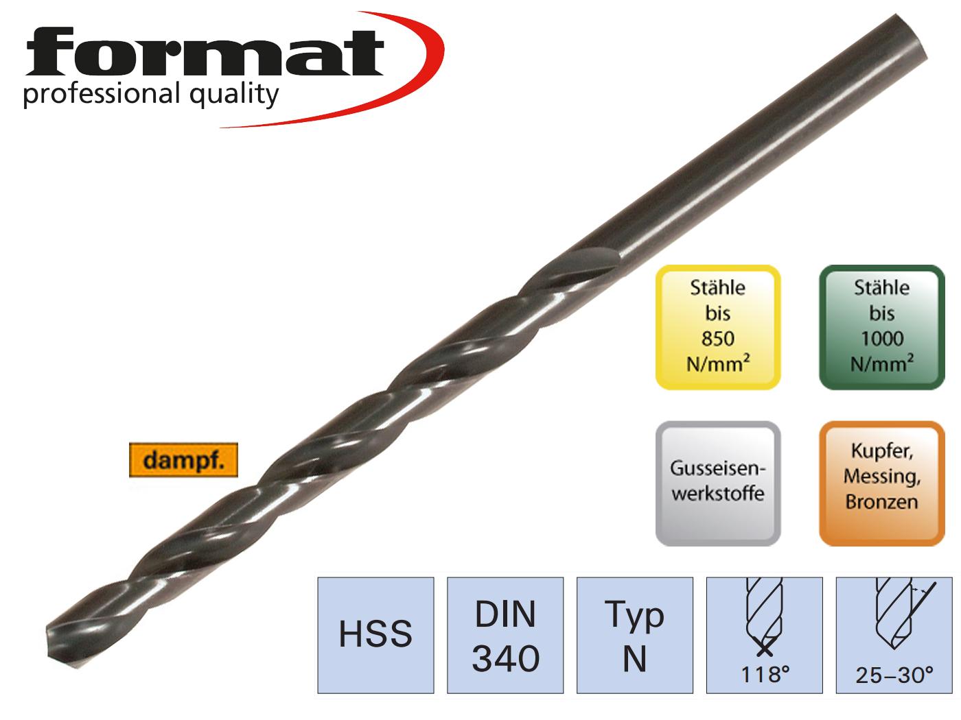 Spiraalboor DIN 340 N HSS geslepen FORMAT | DKMTools - DKM Tools