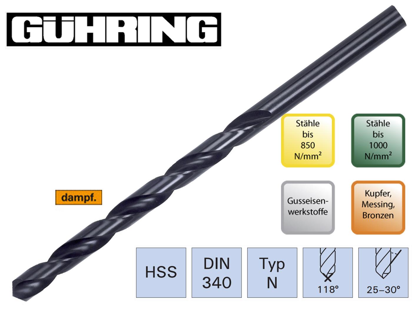 Spiraalboor DIN 340 N HSS geslepen Guhring | DKMTools - DKM Tools