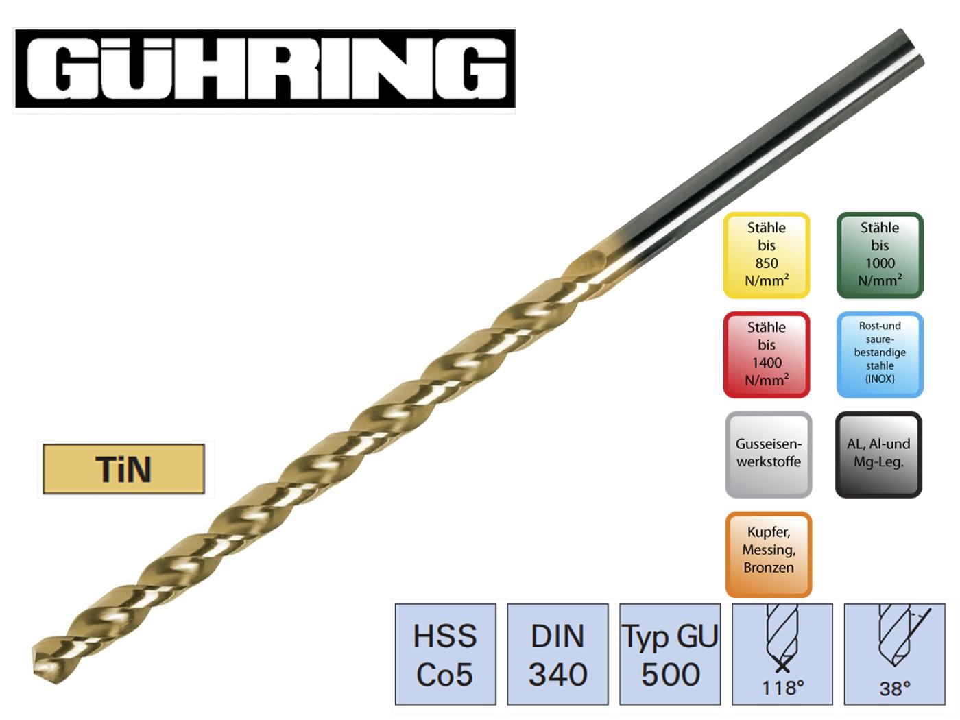 Spiraalboor DIN 340 GU HSSE Co5 TiN Format | DKMTools - DKM Tools