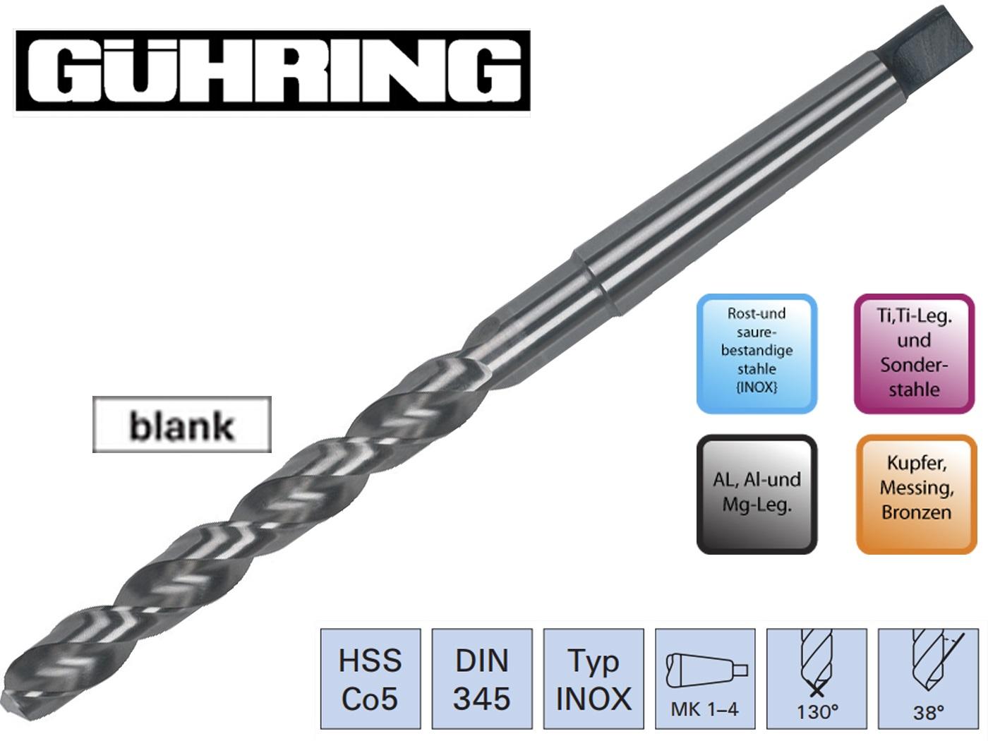 Spiraalboor DIN345VA HSSCo5 konische Guhring | DKMTools - DKM Tools